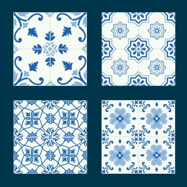 Blue tiles collection Free Vector