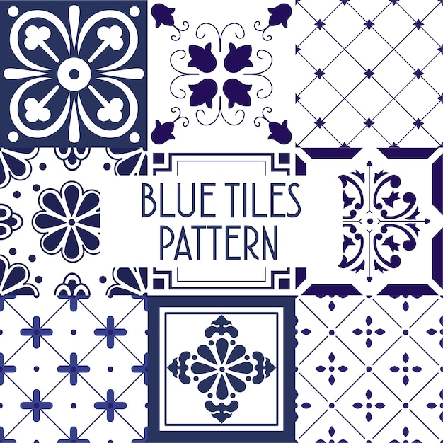 Blue tiles pattern Premium Vector