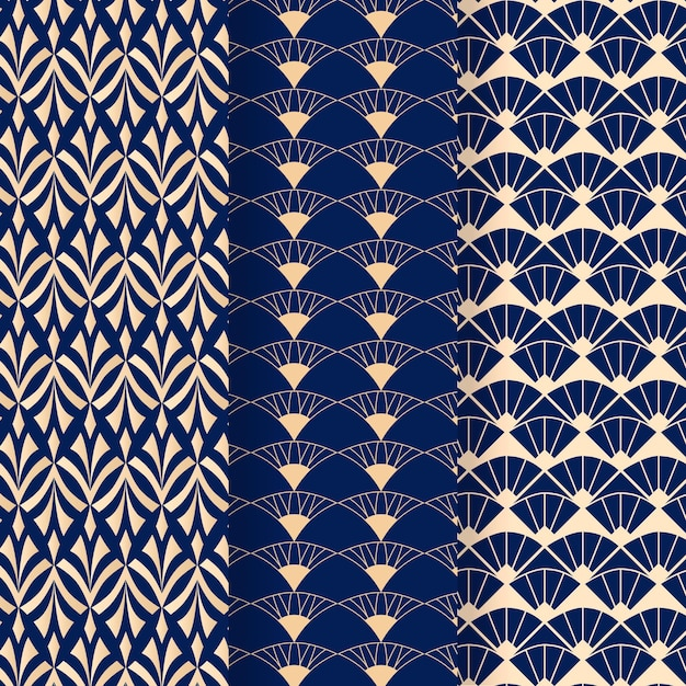 Blue tones of art deco seamless pattern Free Vector