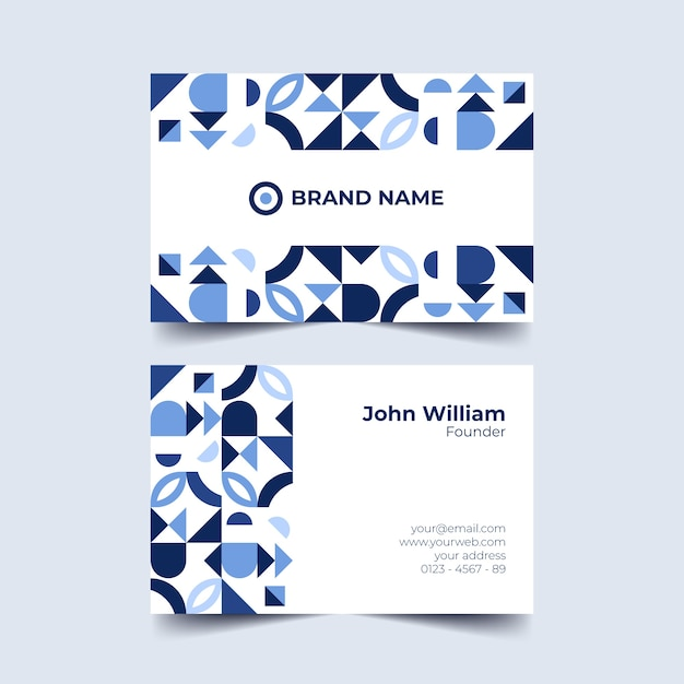 Blue tones of geometrical shapes business card Free Vector