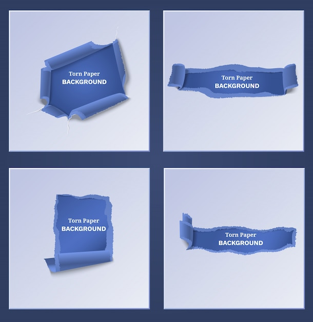 Синие рваные и рваные бумажные шаблоны Бесплатные векторы