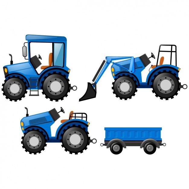 Blue tractors design Free Vector