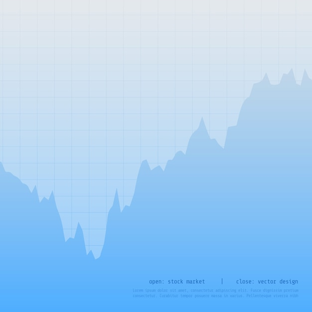 Blue trading chart with up and downtrend Free Vector