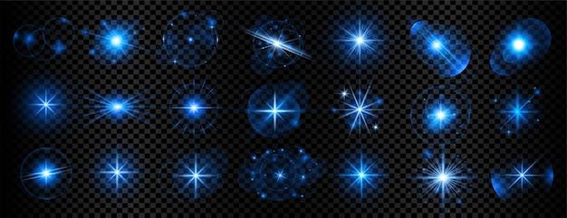 파란색 투명 빛 반짝임 및 렌즈 플레어 빅 세트 무료 벡터