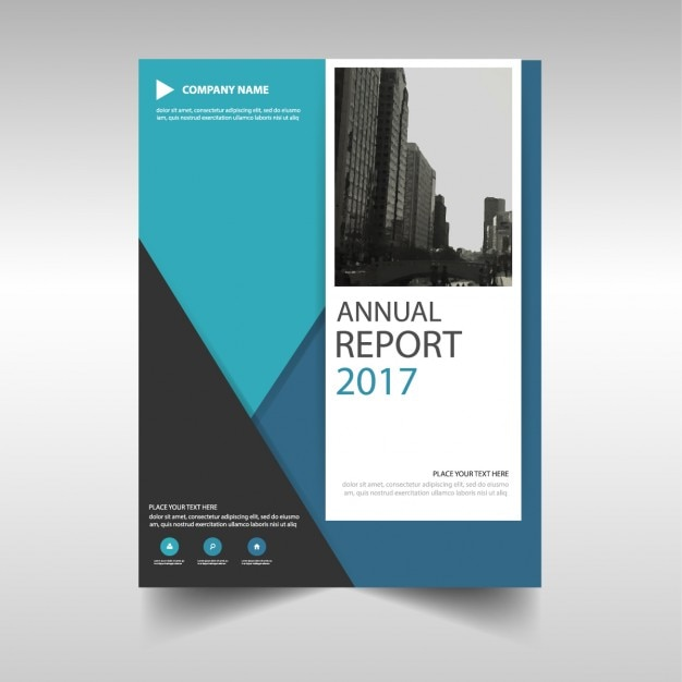 Blue Triangle Annual Report Template Design Vector  Free Download