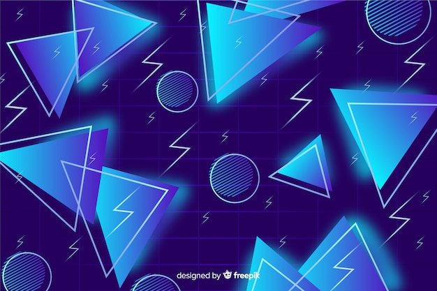 Blue triangle background 80's style Free Vector