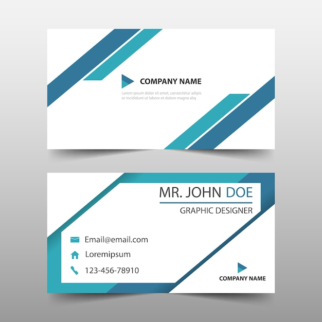 Blue triangle corporate business card template Vector | Free Download