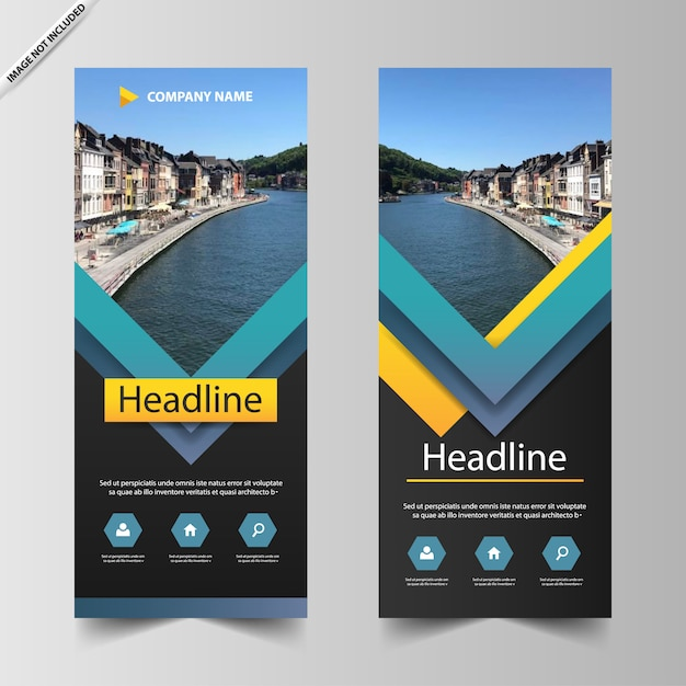 Blue triangle roll up banner template Premium Vector