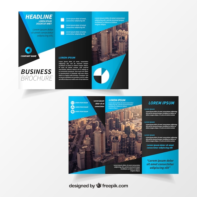 Blue Trifold Brochure Template Vector Free Download