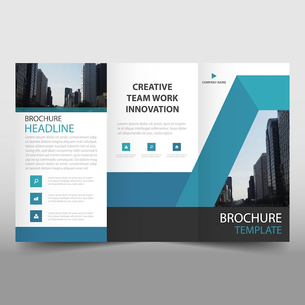 Blue Trifold Business Brochure Template Vector Free Download - Mini brochure template