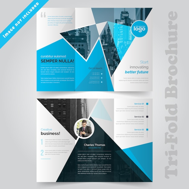 Blue trifold corporate brochure design Premium Vector