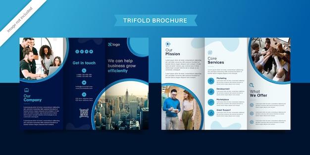 Blue trifold дизайн брошюры Premium векторы