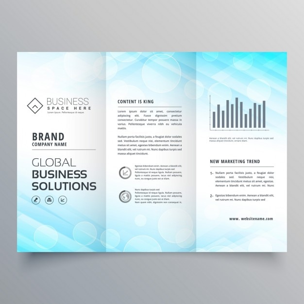 Blue triptych brochure Free Vector