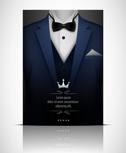Blue tuxedo with black bow tie Premium Vector