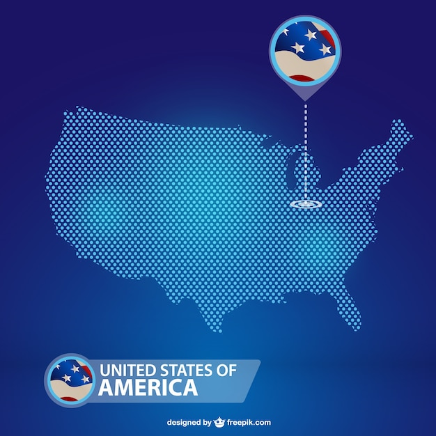 Blue USA Map Vector Free Download - Usa map free download