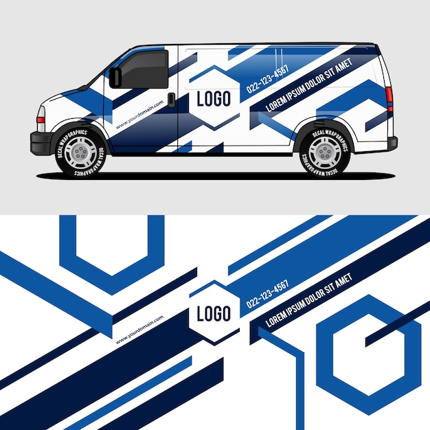 Blue van wrap design wrapping sticker and decal design Premium Vector