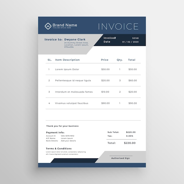Blue Vector Business Invoice Template Design Vector Free Download