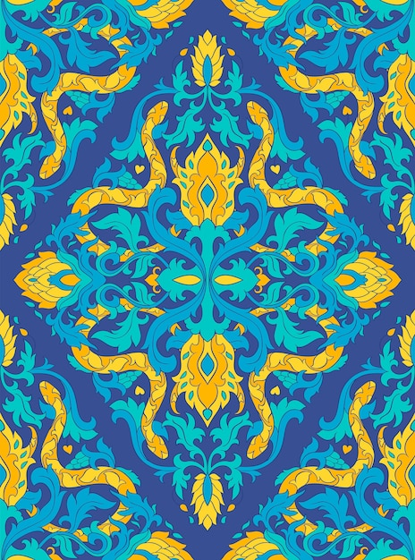 Blue vector pattern with snakes. Premium Vector