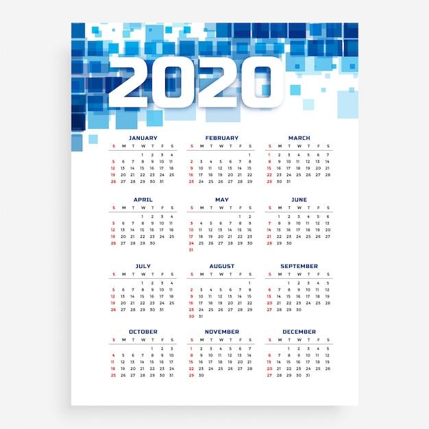 Blue vertical 2020 calendar template Free Vector