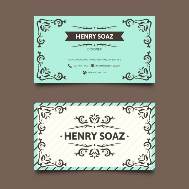 Blue vintage business card Vector Free Download