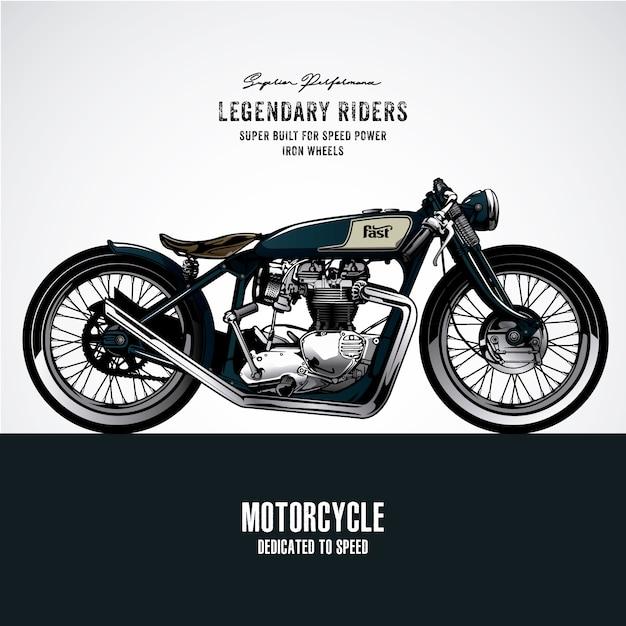 Blue Vintage Motorbike Design Premium Vector