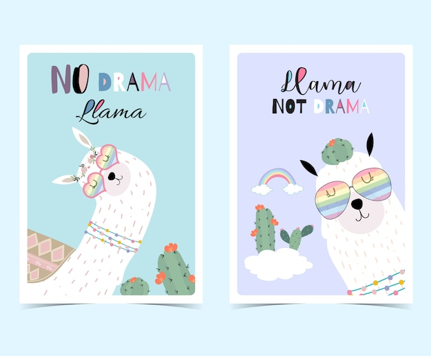 6055f1f99 Blue violet hand drawn cute card with llama, Vector | Premium Download
