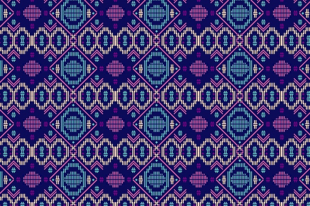 Blue and violet songket seamless pattern template Premium Vector