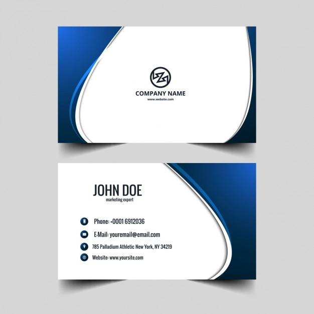 Blue visiting card Free Vector