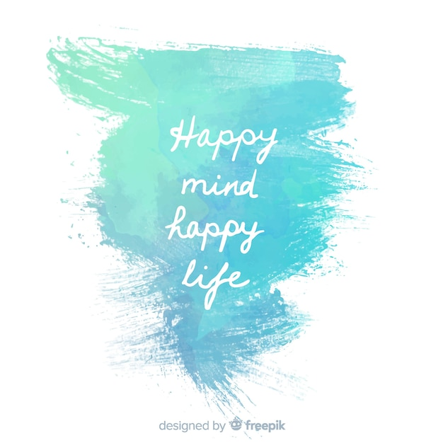 Blue water paint with positive message Free Vector