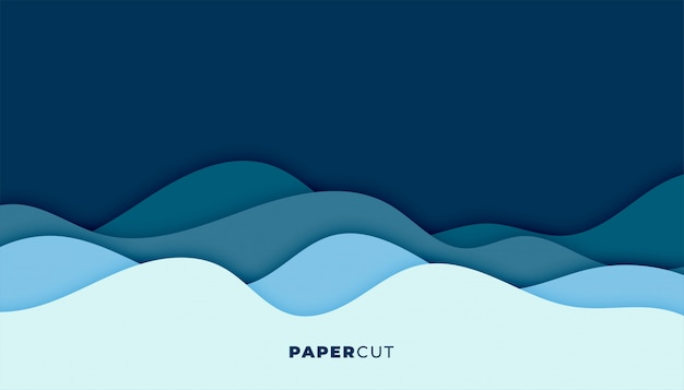 Blue water wave background in papercut style Free Vector