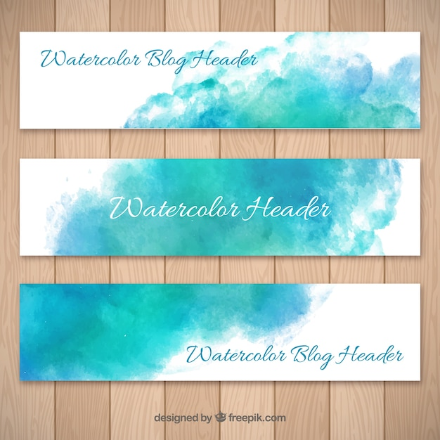 Blue watercolor abstract blog headers