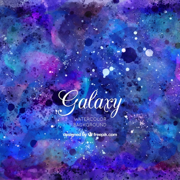 Blue watercolor background of galaxy