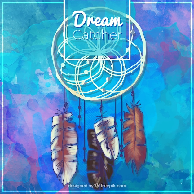 Blue watercolor background with dreamcatcher Free Vector