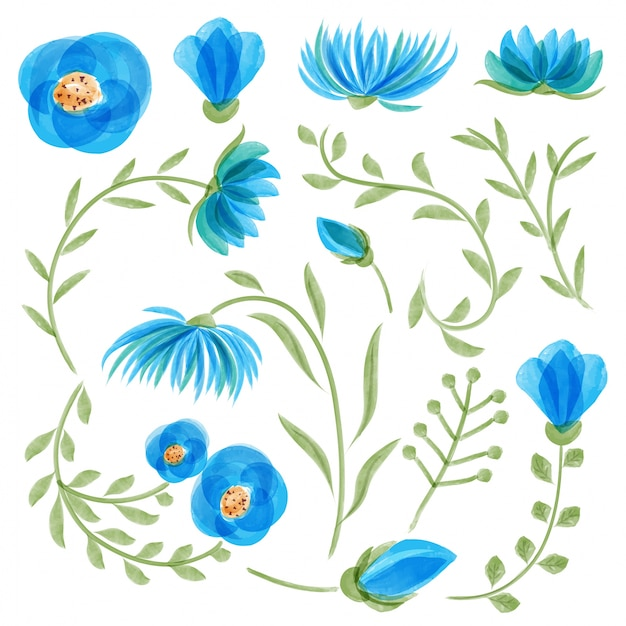 Blue watercolor floral collection with leaves and flowers Free Vector