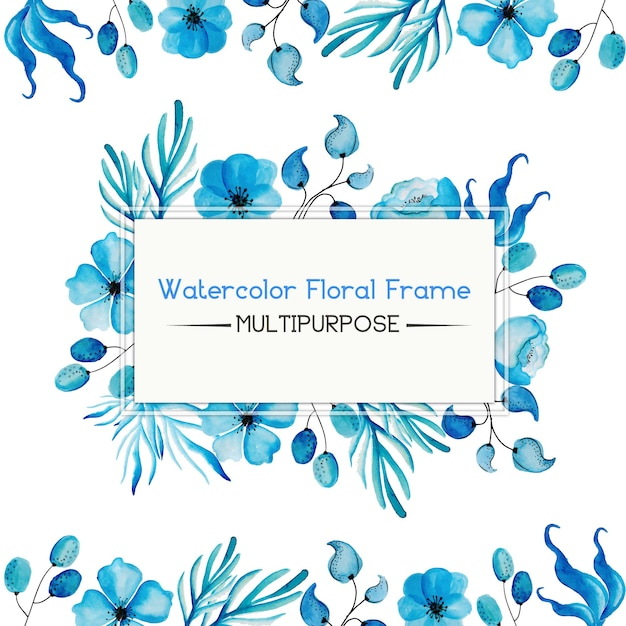 Blue Watercolor Floral Frame Multipurpose Free Vector