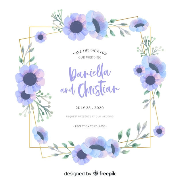 Blue watercolor floral frame on wedding invitation Free Vector