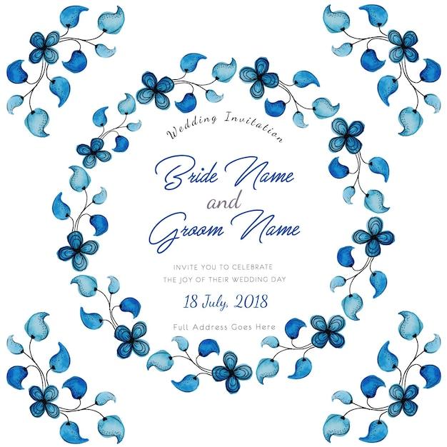 5 Blue Floral Wedding Invitation Card Vector Material: Blue Watercolor Floral Wedding Invitation Card Vector