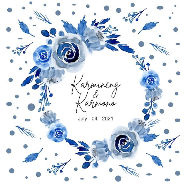 Blue watercolor flower wreath Premium Vector