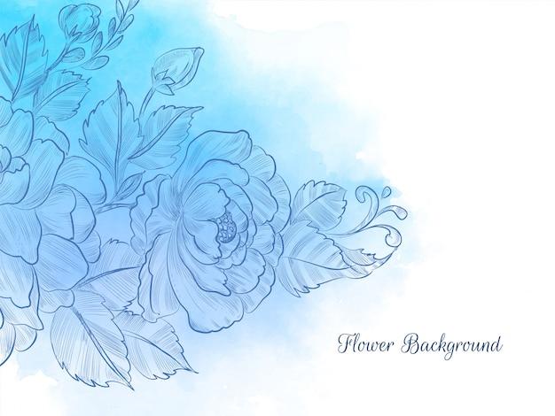 블루 수채화 파스텔 손으로 그린 꽃 무료 벡터