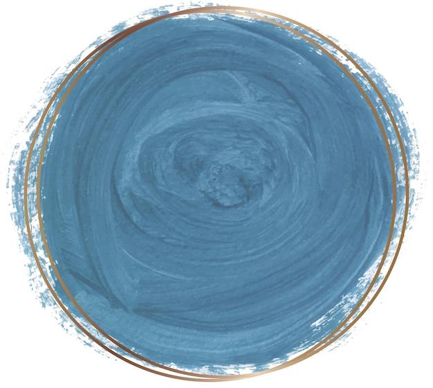 골든 라인 프레임 블루 수채화 모양 프리미엄 벡터