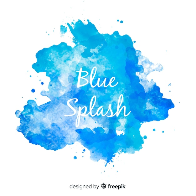 Blue watercolor splash Free Vector
