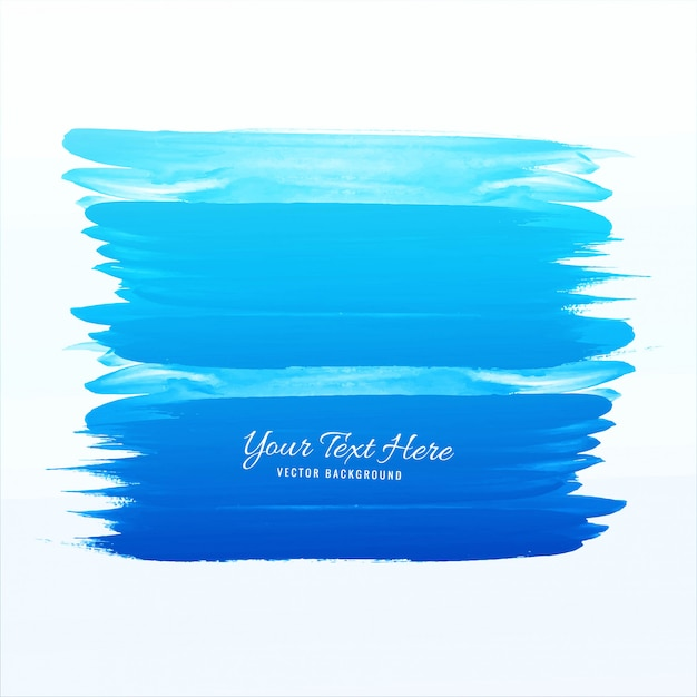 Blue watercolor stroke vector Free Vector