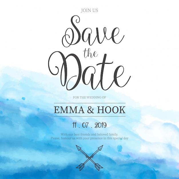 Partecipazione di nozze acquerello blu Vettore gratuito