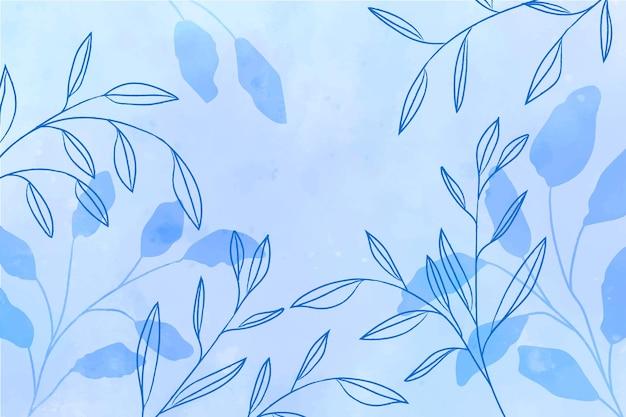 葉の背景と青い水彩画 無料ベクター
