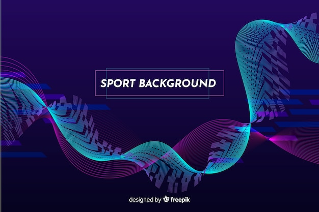 Blue wave abstract sport background Free Vector