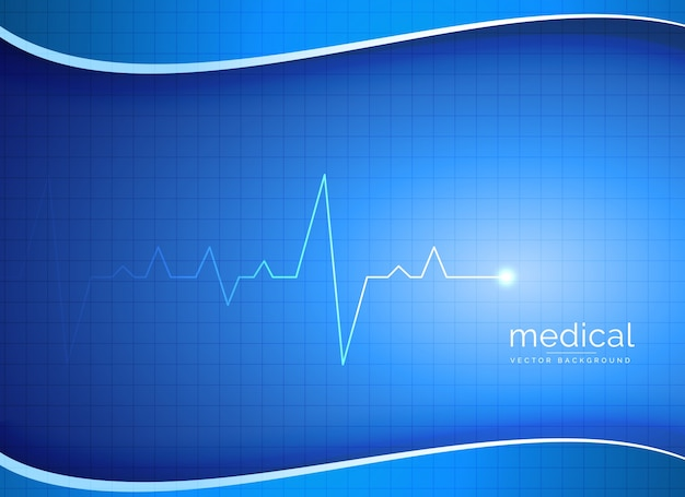 Blue wave background with electrocardiogram Free Vector