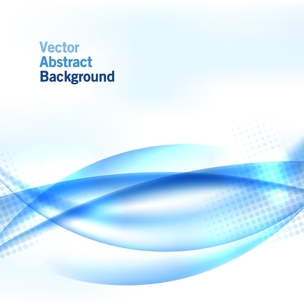 Blue wave background with halftone Premium Vector