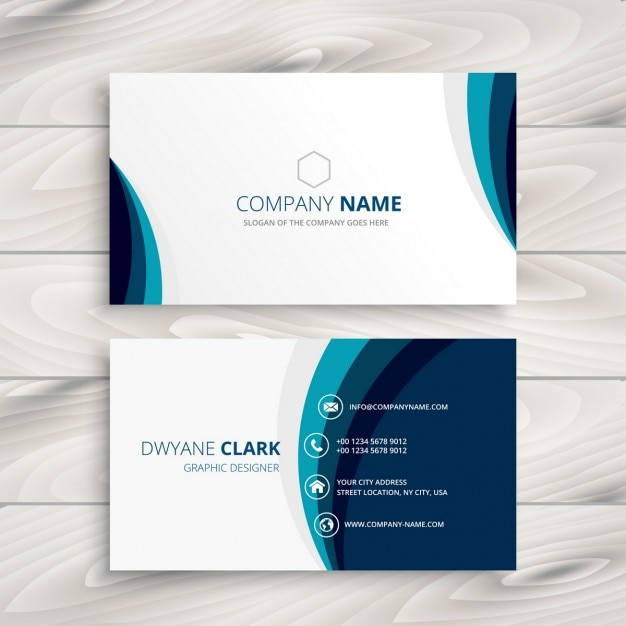 Blue wave business card design vector free download for Business card online free