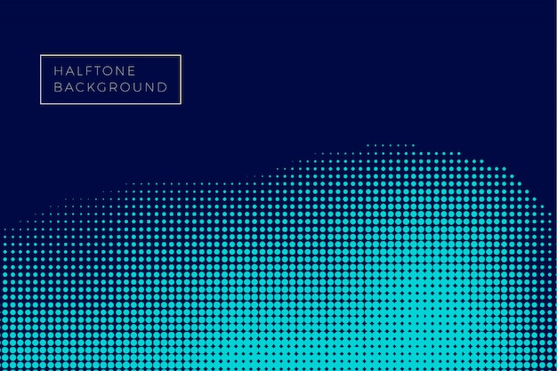 Blue wave halftone background Free Vector