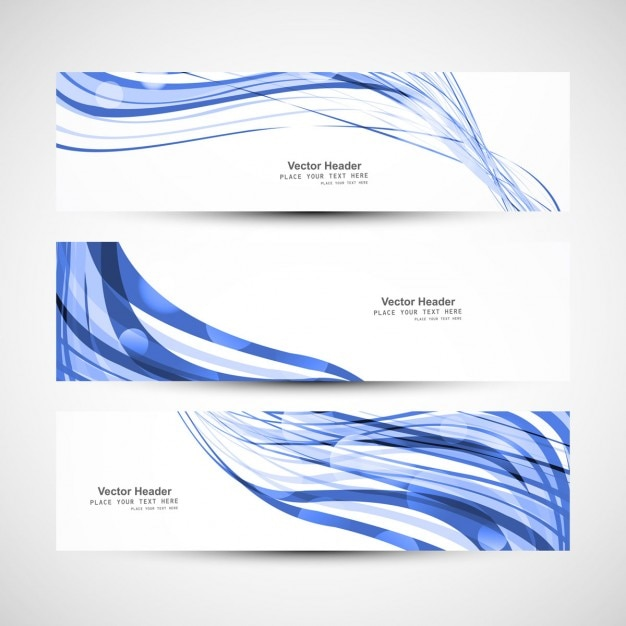 Blue wave headers Free Vector